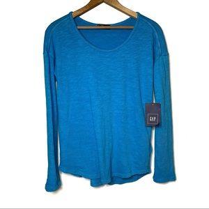 GAP Long Sleeve Blue Knit Top 100% Cotton Size XS